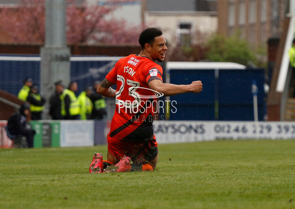 Goal celebration by Wycombe Wanderers Nathan Tyson(23) during the EFL Sky Bet League 2 match between Chesterfield and Wycombe Wanderers at the b2net stadium, Chesterfield, England on 28 April 2018. Picture by Paul Thompson.