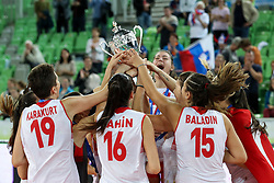 Players of Turkey celebrate with trophy after the volleyball match between National team of Turkey and Slovenia in Gold Medal game of Womens U23 World Championship 2017, on September 17, 2017 in SRC Stozice, Ljubljana, Slovenia. Photo by Morgan Kristan / Sportida