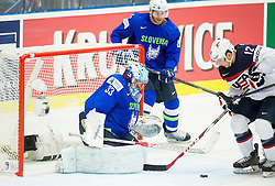 Ben Smith of USA vs Robert Kristan of Slovenia during Ice Hockey match between Slovenia and USA at Day 10 in Group B of 2015 IIHF World Championship, on May 10, 2015 in CEZ Arena, Ostrava, Czech Republic. Photo by Vid Ponikvar / Sportida