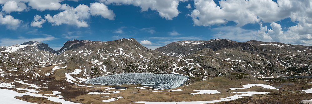 From left to right is Cloud Peak, Bomber Mountain, Mistymoon Lake, Florence Pass, and Lake Marion. This was a much different view with all the snow and ice compared to the last time I saw it in July.