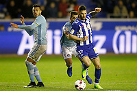 Deportivo Alaves' Edgar Mendez (r) and Celta de Vigo's Gustavo Cabral (l) and Jonny Castro during Spanish Kings Cup semifinal 2nd leg match. February 08,2017. (ALTERPHOTOS/Acero)