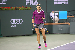 March 8, 2019 - Indian Wells, CA, U.S. - INDIAN WELLS, CA - MARCH 08: Victoria Azarenka (BLR) reacts after a point during the BNP Paribas Open on March 8, 2019 at Indian Wells Tennis Garden in Indian Wells, CA. (Photo by George Walker/Icon Sportswire) (Credit Image: © George Walker/Icon SMI via ZUMA Press)