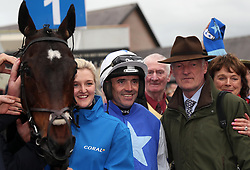 Ruby Walsh celebrates winning the Coral Punchestown Gold Cup on Kemboy, with trainer Willie Mullins, where he then announced his retirement, during day two of the Punchestown Festival at Punchestown Racecourse, County Kildare, Ireland.