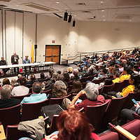 Louis Bonaguidi speaks to a full house Thursday, Feb. 20 at a mayoral candidate forum for the 2020 Municipal Officer Election at the University of New Mexico-Gallup Calvin Hall Auditorium co-hosted by the Gallup Independent and KGLP.