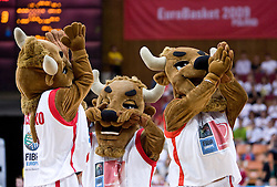 Official mascot Mieszko  during the U-18 All Star game at EuroBasket 2009, on September 18, 2009 in Arena Spodek, Katowice, Poland.  (Photo by Vid Ponikvar / Sportida)