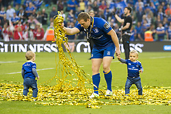 May 27, 2018 - Dublin, Ireland - Sean Cronin of Leinster pictured with his kids during the Guinness PRO14 Final match between Leinster Rugby and Scarlets at Aviva Stadium in Dublin, Ireland on May 26, 2018  (Credit Image: © Andrew Surma/NurPhoto via ZUMA Press)
