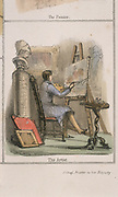 Artist using brushes made of pig bristle. From 'Graphic Illustrations of Animals and Their Utility to Man',  London, c1850.