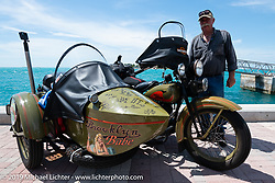 Bill Reese on his Brooklyn Babe 1933 Harley-Davidson VLE with sidecar after the finish of the Cross Country Chase motorcycle endurance run from Sault Sainte Marie, MI to Key West, FL. (for vintage bikes from 1930-1948). The Grand Finish in Key West's Mallory Square after the 110 mile Stage-10 ride from Miami to Key West, FL and after covering 2,368 miles of the Cross Country Chase. Sunday, September 15, 2019. Photography ©2019 Michael Lichter.