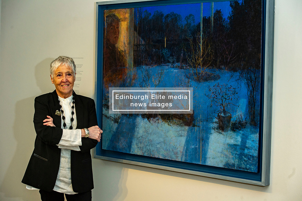 Pictured: Victoria Crowe OBE in front of Reflection and Light from Within<br /><br />Another Time, Another Place at The Scottish Gallery - an exhibition of works by renowned artist Victoria Crowe OBE which have inspired 12 poems by poet Christine De Luca<br /><br />Ger Harley | EEm 29 April 2021