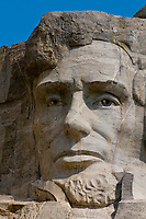 Face of Abraham Lincoln, Mount Rushmore National Memorial, Black Hills, South Dakota USA