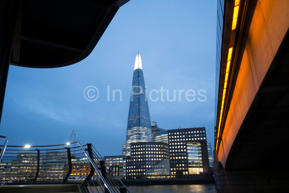 The Shard seen over the River Thames at London Bridge in London, England, United Kingdom. The Shard, also referred to as the Shard of Glass, Shard London Bridge and formerly London Bridge Tower, is a 95-storey skyscraper in Southwark, London, that forms part of the London Bridge Quarter development. (photo by Mike Kemp/In Pictures via Getty Images)