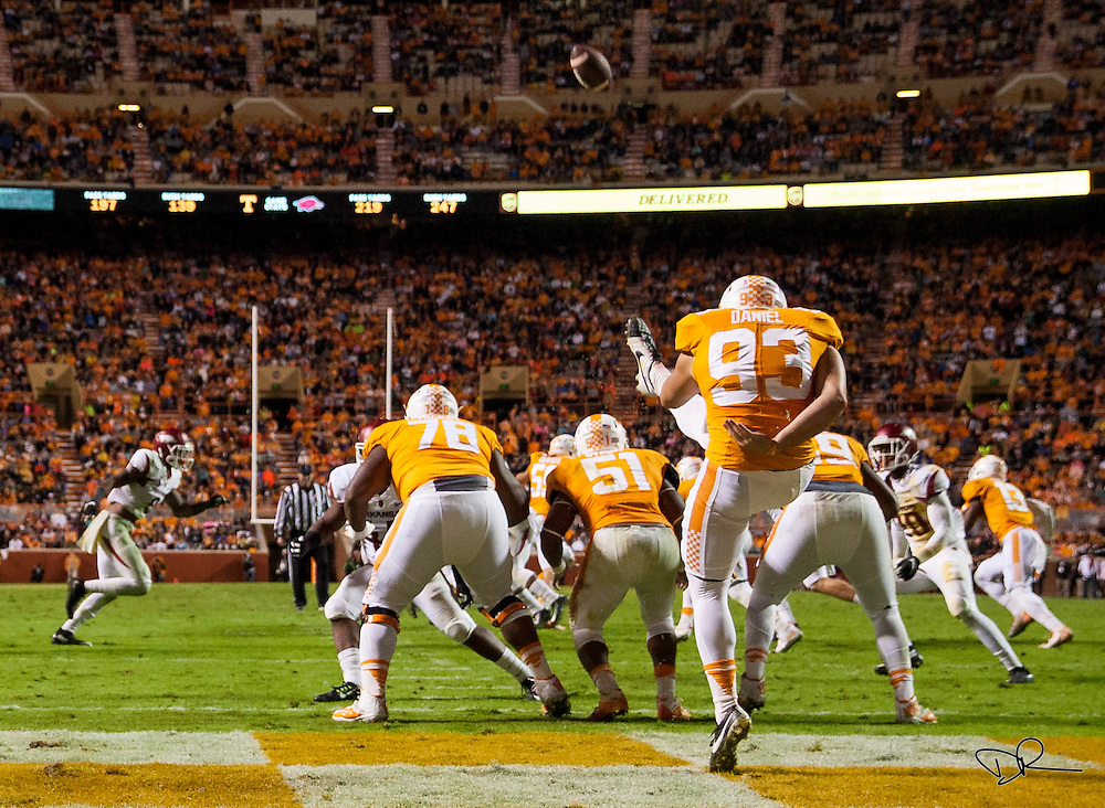Trevor Daniel punts the ball from Tenneessee Volunteers' end zone during an SEC footbal game against  the Arkansas Razobacks at Neyland Stadium on October 13, 2015. Arkansas would go on to win the game 24-20.