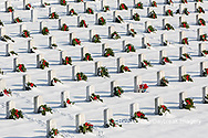 65095-03009 Wreaths on graves in winter Jefferson Barracks National Cemetery St. Louis,  MO