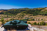 Tank war memorial in Shusha city  landmark of Artsakh Nagorno-Karabakh Armenia eastern Europe