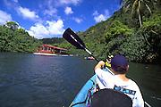 Kayaking, Wailua River, Kauai, Hawaii, USA<br />