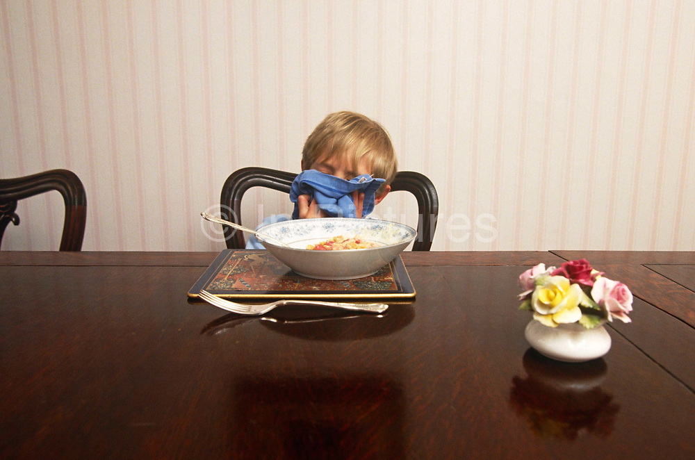 While seated to have dinner at home, a young boy of about 10 years of age hides his face and wipes his lips with a serviette. Demonstrating perfect manners that his parents must have instilled in him, the lad's face is hidden from the viewer as he presses the cloth to his face to obscure his identity. He is eating some sort of pudding with a spoon and a fork rests on the highly-polished table on which an ornamental posy of flowers is reflected. It is a scene of immaculate etiquette that a boy from a middle-class background might be expected to show to elders and visitors. It is an example of grooming and pedigree to take with him out into the outside world where he will be expected to be the best behaved.