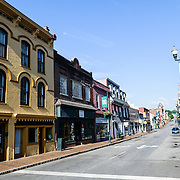 E Beverley Street downtown in Staunton in central Virginia, USA.