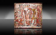 Trail and Arrest of St. Catherine<br /> <br /> Between 1241-1255<br /> Mixed Technica transferred to canvas<br /> It comes from the old chapel of St. Catherine's cathedral La Seu d'Urgell, Spain, Spain.<br /> <br /> Acquisition of the Museum Board 2008 campaign. MNAC 214241<br /> <br /> Thirteenth century Romanesque painted altar front of the Arrest of St. Catherine who was a patron of the Dominican Order and a model popular saint of the medieval times. The painting style sits  between Romanesque and Gothic. .<br /> <br /> If you prefer you can also buy from our ALAMY PHOTO LIBRARY  Collection visit : https://www.alamy.com/portfolio/paul-williams-funkystock/romanesque-art-antiquities.html<br /> Type -     MNAC     - into the LOWER SEARCH WITHIN GALLERY box. Refine search by adding background colour, place, subject etc<br /> <br /> Visit our ROMANESQUE ART PHOTO COLLECTION for more   photos  to download or buy as prints https://funkystock.photoshelter.com/gallery-collection/Medieval-Romanesque-Art-Antiquities-Historic-Sites-Pictures-Images-of/C0000uYGQT94tY_Y