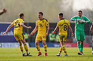 Oxford United celebrate their win over Wycombe Wanderers during the EFL Sky Bet League 1 match between Oxford United and Wycombe Wanderers at the Kassam Stadium, Oxford, England on 30 March 2019.