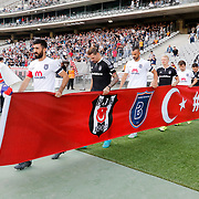 Besiktas's goalkeeper Tolga Zengin (L) and Ersan Gulum (C) during their Turkish Super League soccer match Besiktas between Medipol Basaksehir FK at the Ataturk Olimpiyat stadium in Istanbul Turkey on Sunday, 13 September 2015. Photo by Kurtulus YILMAZ/TURKPIX