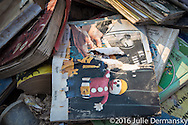 Mr. bill book on a pile of garbage out side of a Salvation Army store in Denham Springs, Louisiana on Sept 1.