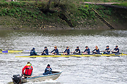 Hammersmith, Greater London, 15th March 2020, Pre  Boat Race, fixture  [R] Oxford University Women's BC second eight, Osiris,,  approaching  Hammersmith Bridge, Championship Course, Putney to Mortlake, River Thames, [Mandatory Credit: Peter SPURRIER/Intersport Images],
