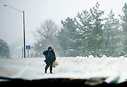 Feb 10,2010 - Herndon, Va USA - A man makes his way through the blizzard along Centerville Road in Herndon Virginia on Wednesday..(Credit Image: ©Pete Marovich/ZUMA Press)