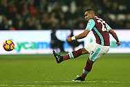Dimitri Payet of West Ham United takes a free kick. Premier league match, West Ham Utd v Hull city at the London Stadium, Queen Elizabeth Olympic Park in London on Saturday 17th December 2016.<br /> pic by John Patrick Fletcher, Andrew Orchard sports photography.