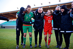 ZENICA, BOSNIA AND HERZEGOVINA - Tuesday, November 28, 2017: Wales' goalkeeper Laura O'Sullivan, coach Jon Horton and Rachel Rowe celebrate the 1-0 victory over Bosnia and Herzegovina during the FIFA Women's World Cup 2019 Qualifying Round Group 1 match between Bosnia and Herzegovina and Wales at the FF BH Football Training Centre. (Pic by David Rawcliffe/Propaganda)