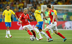 June 17, 2018 - Rostov Do Don, Rússia - ROSTOV DO DON, RO - 17.06.2018: BRAZIL VS SWITZERLAND - Neymar Jr. of Brazil contests ball with Valon Behrami of Switzerland during a match between Brazil and Switzerland valid for the first round of group E of the 2018 World Cup, held at the Rostov Arena in Rostov on Don, Russia. (Credit Image: © Marcelo Machado De Melo/Fotoarena via ZUMA Press)