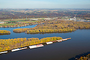Aerial view of Dubuque, Iowa and barges on the Mississippi River.