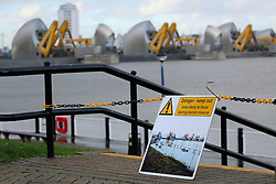© Licensed to London News Pictures. 1/02/2014. The Thames Barrier has closed to protect London, 31 years to the day since it first was shut for flood defence. The Barrier was first closed in response to high water levels on February 1st 1983. It has closed today in response to the current flow levels and high tide. Today's closure is the 142nd time it has closed for flood defence reasons. Credit : Rob Powell/LNP