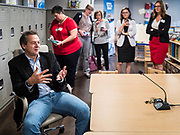 12 SEPTEMBER 2019 - DES MOINES, IOWA: Governor STEVE BULLOCK (D-MT) talks to Iowa children's advocates after a Caucus for Kids Facebook Live broadcast sponsored by the Children's Policy Coalition at New Horizons Academy. Gov. Bullock is vying to be the Democratic party's nominee in 2020. He is campaigning in Iowa this week he didn't qualify for the September 12 debate. Iowa traditionally hosts the the first election event of the presidential selection cycle. The Iowa Caucuses will be on Feb. 3, 2020.                 PHOTO BY JACK KURTZ