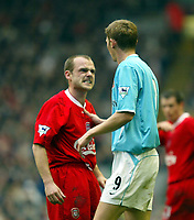 Liverpool's Danny Murphy gets angry with Sunderland's Tore Andre Flo during the Premiership match at Anfield, Liverpool, Sunday, November 17th, 2002. <br /><br />Pic by David Rawcliffe/Propaganda<br /><br />Any problems call David Rawcliffe on +44(0)7973 14 2020 or email david@propaganda-photo.com - http://www.propaganda-photo.com