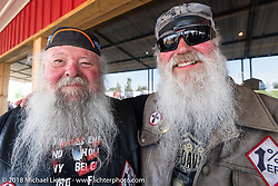 Chopper and Slider Gilmore at a Sons of Silence MC party during the 78th annual Sturgis Motorcycle Rally. Sturgis, SD. USA. Wednesday August 8, 2018. Photography ©2018 Michael Lichter.