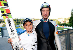 David Korosec and Primoz Peterka going to jump the last time in his very successful career, he is one of the best ski jumpers in history, on July 2, 2011, in Kranj, Slovenia. (Photo by Vid Ponikvar / Sportida)