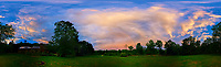 Backyard 360 Panorama View of an Evening Rainbow. After the Thunderstorm. Composite of 46 images taken with a Nikon D810a camera and 8-15 mm fisheye lens (ISO 200, 8 mm, f/8, 1/200 sec). Raw images processed with Capture One Pro and AutoPano Giga.