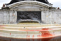 Victoria Memorial  london dyed red and vandalised by climate protesters