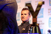 Thomas Voeckler (Direct Energie), defending champion for the third Tour de Yorkshire with the trophy in the foreground during the Tour de Yorkshire Press Conference at the National Railway Museum, York, United Kingdom on 27 April 2017. Photo by Mark P Doherty.