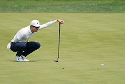 August 12, 2018 - St. Louis, Missouri, United States - Dylan Frittelli lines up a putt on the 9th green during the final round of the 100th PGA Championship at Bellerive Country Club. (Credit Image: © Debby Wong via ZUMA Wire)
