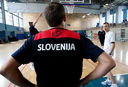 Samo Udrih and Gasper Potocnik during media day at training camp of Slovenian National Basketball team for Eurobasket Lithuania 2011, on July 19, 2011, in Arena Ljudski vrt, Ptuj, Slovenia.  (Photo by Vid Ponikvar / Sportida)