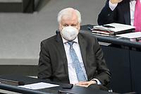11 FEB 2021, BERLIN/GERMANY:<br /> Horst Seehofer, CSU, Bundesinnenminister, Debatte nach der  Regierungserklaerung der Bundeskanzlerin zur Bewaeltigung der Corvid-19-Pandemie, Plenum, Reichstagsgebaeude, Deutscher Bundestag<br /> IMAGE: 20210211-01-076<br /> KEYWORDS: Corona, Maske, Mundschutz