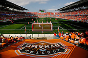 Apr 14, 2013; Houston, TX, USA; A general view of BBVA Compass Stadium during the second half of the game between the Houston Dynamo and the Chicago Fire. The Dynamo won 2-1. Mandatory Credit: Thomas Campbell-USA TODAY Sports
