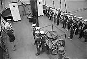 """Sea Scouts aboard the Lightship """"Albatross""""..1972..22.07.1972..07.22.1972..22nd July 1972..Pictured aboard the """"Albatross"""" the Sea Scouts stand at attention for presentation to Mr Brendan O'Kelly,Chief Executive,Bord Iascaigh Mhara (BIM)."""
