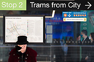 A man wearing a top hat is seen waiting for a tram during COVID-19 in Melbourne, Australia. Premier Daniel Andrews announced today that some minor changes will be made to the current Stage 4 Restrictions in Melbourne. As yet, there is no sign of any meaningful change despite numbers of new cases being under 5 for the 14 day rolling average. Zero cases and no deaths were recorded in the past 24 hours in Victoria. (Photo by Dave Hewison/Speed Media)