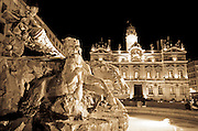 Hotel de Ville and Place des Terreaux at night, Lyon, France (UNESCO World Heritage Site)