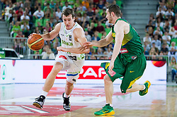 Goran Dragic of Slovenia vs Marcelo Huertas of Brasil during friendly basketball match between National Teams of Slovenia and Brasil at Day 2 of Telemach Tournament on August 22, 2014 in Arena Stozice, Ljubljana, Slovenia. Photo by Vid Ponikvar / Sportida