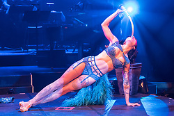 Cabaret group Le Clique present their Christmas show Le Clique Noel at the Spiegeltent in Edinburgh as part of the city's annual Christmas festivities. Heather Holliday performs her sword-swallowing act.