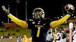 Nov 23, 2019; Columbia, MO, USA; Missouri Tigers running back Tyler Badie (1) celebrates after scoring a touchdown during the second half against the Tennessee Volunteers at Memorial Stadium/Faurot Field. Mandatory Credit: Denny Medley-USA TODAY Sports