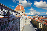 View of the Dome of the the Gothic-Renaissance Duomo of Florence,  Basilica of Saint Mary of the Flower; Firenza ( Basilica di Santa Maria del Fiore ), from the campinale.  Built between 1293 & 1436. Italy .<br /> <br /> Visit our ITALY PHOTO COLLECTION for more   photos of Italy to download or buy as prints https://funkystock.photoshelter.com/gallery-collection/2b-Pictures-Images-of-Italy-Photos-of-Italian-Historic-Landmark-Sites/C0000qxA2zGFjd_k<br /> .<br /> <br /> Visit our MEDIEVAL PHOTO COLLECTIONS for more   photos  to download or buy as prints https://funkystock.photoshelter.com/gallery-collection/Medieval-Middle-Ages-Historic-Places-Arcaeological-Sites-Pictures-Images-of/C0000B5ZA54_WD0s